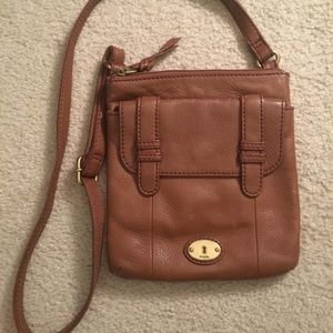 Tan Fossil crossbody bag